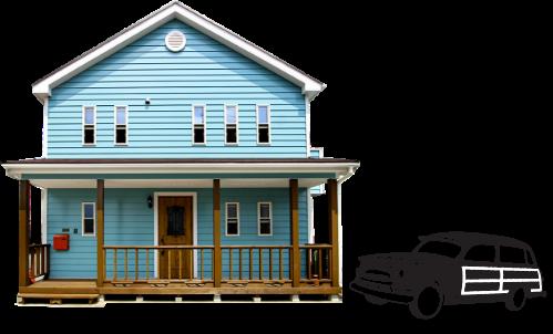 青い家の写真