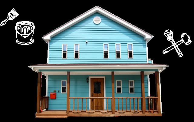 青い家 外観 写真